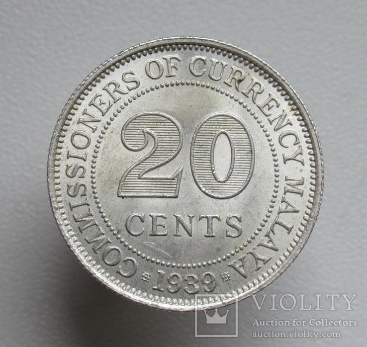 Британская Малайя 20 центов 1939 г.,, фото №5