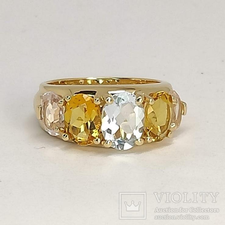 Золотое кольцо с аквамарином, цитринами и морганитами