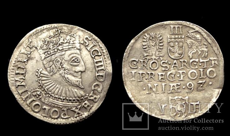 3 гроша 1592 г. Сигизмунд 3 Ваза. Город Олькуш (R1)