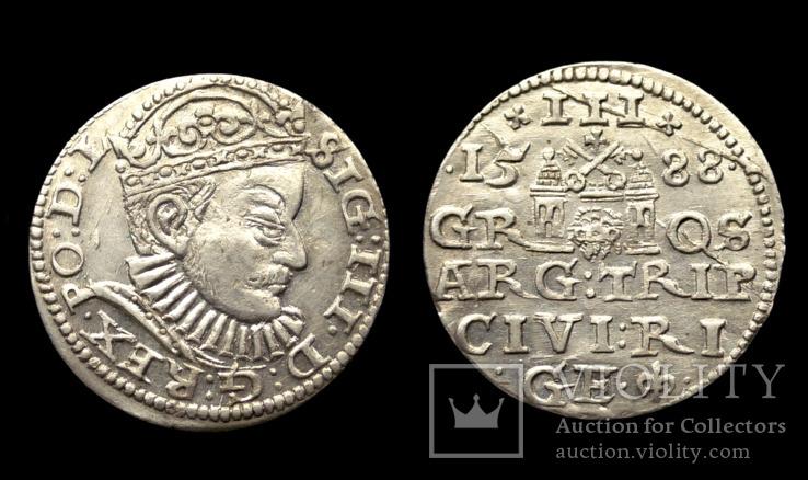3 гроша 1588 г. Сигизмунд 3 Ваза. Рига (R1)
