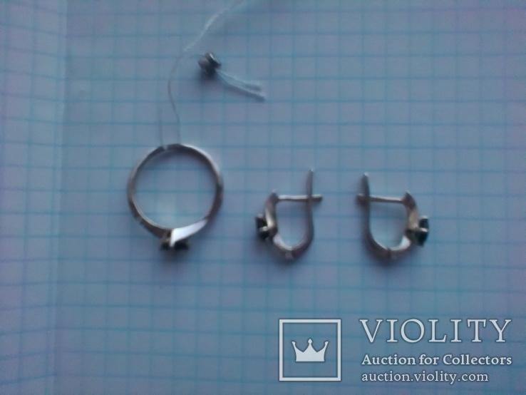 Срібний гарнітур Ася кольцо р. 17,5 і сережки із зеленим кварцем, фото №4