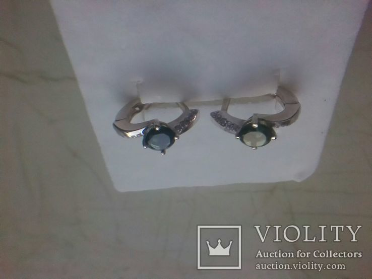 Срібний гарнітур Ася кольцо р. 17,5 і сережки із зеленим кварцем, фото №6