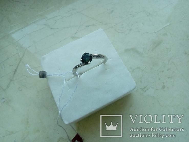 Срібний гарнітур Ася кольцо р. 17,5 і сережки із зеленим кварцем, фото №8