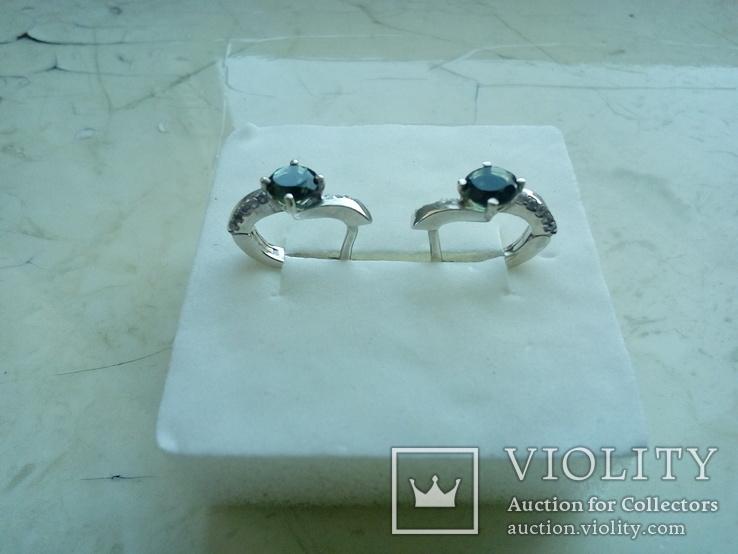 Срібний гарнітур Ася кольцо р. 17,5 і сережки із зеленим кварцем, фото №9