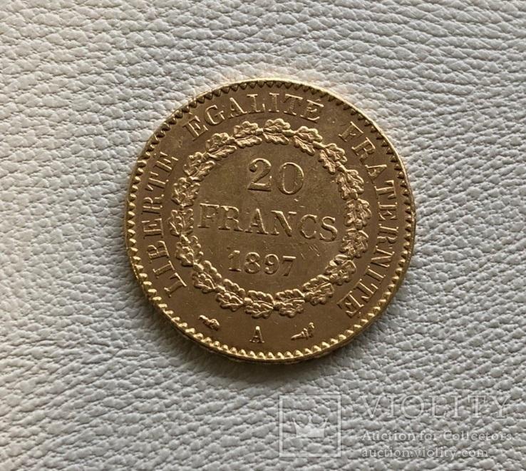 Франция 20 франков 1897 год золото 900', фото №3