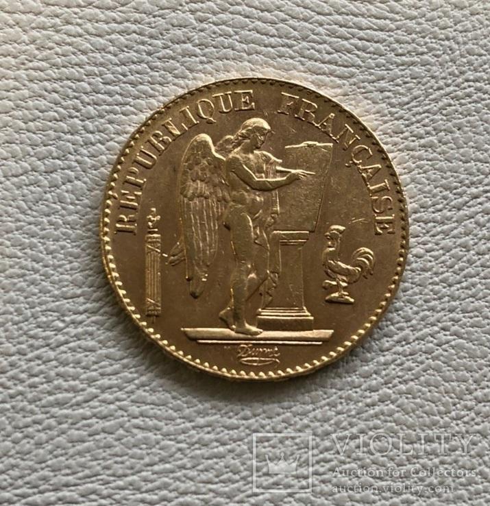 Франция 20 франков 1897 год золото 900', фото №2