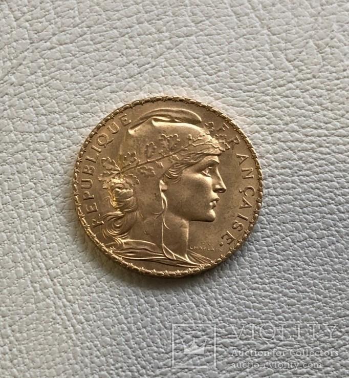 Франция 20 франков 1911 год золото 900', фото №2