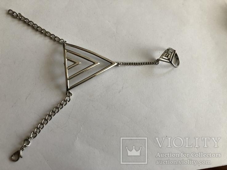Слейв браслет с кольцом на цепочке, фото №3