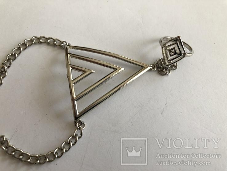 Слейв браслет с кольцом на цепочке, фото №4