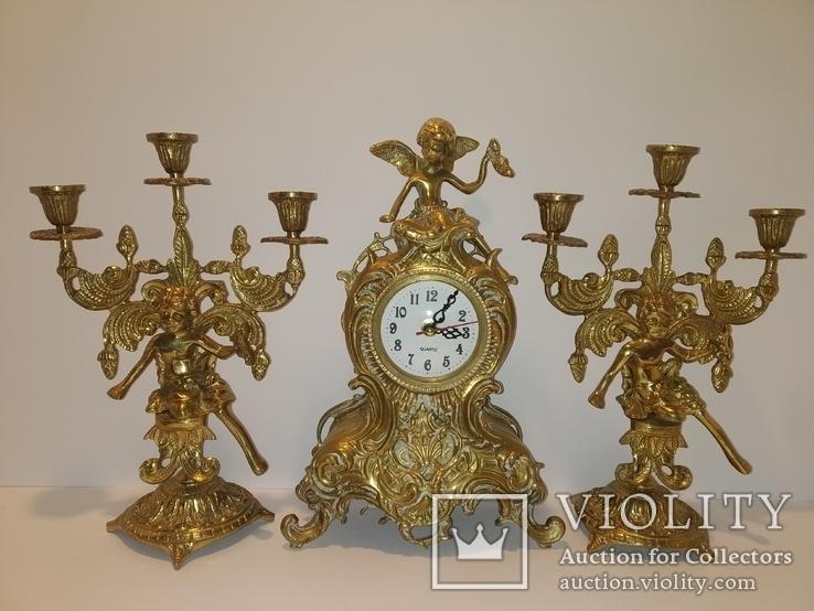 Вінтажний камінний годинник з підсвічниками по 3 свічки