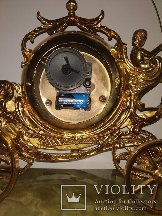 """Камінний годинник на мармуровій підставці  """"Карета"""" арт. 03, фото №12"""