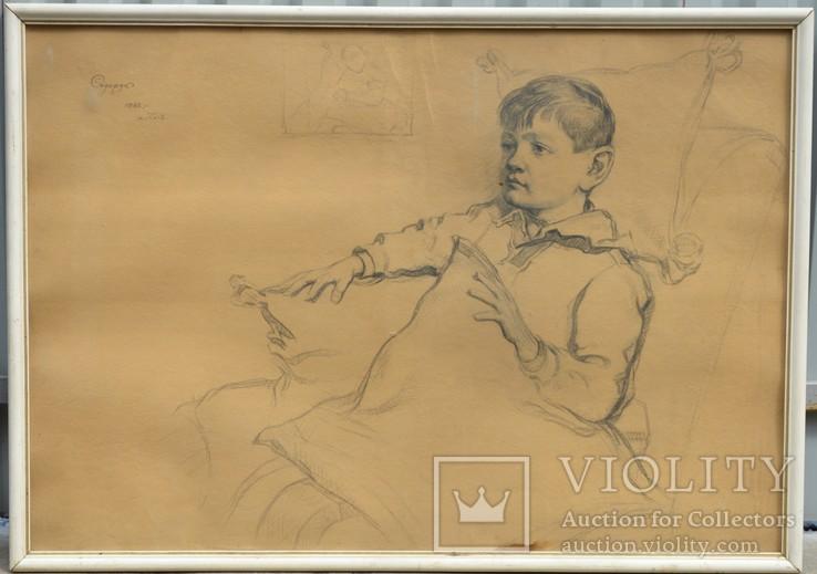 Картина художник  Сидорук Владимир, мальчик, бумага, карандаш, размеры 70 х 101 см.