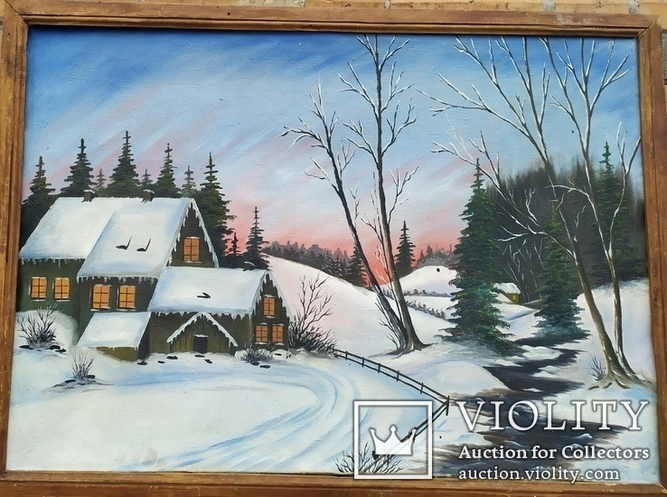 Большая картина зимний пейзаж 72*100см.