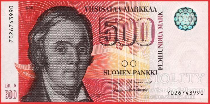 500 Марок 1986 Litt. A, Финляндия UNC, фото №2
