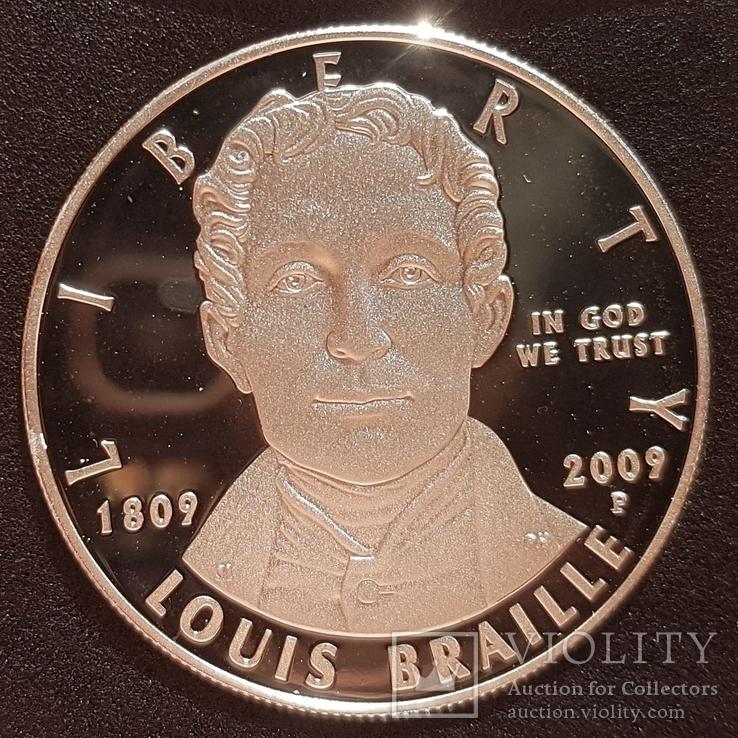 США 1 доллар 2009 г. Серебро. Луи Брайль. 200 лет со дня рождения. Пруф, фото №3
