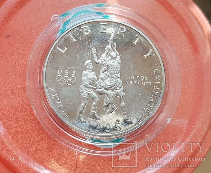 50 центов 1995 г. Баскетбол. XXVI Летние Олимпийские игры 1996 года в Атланте., фото №2