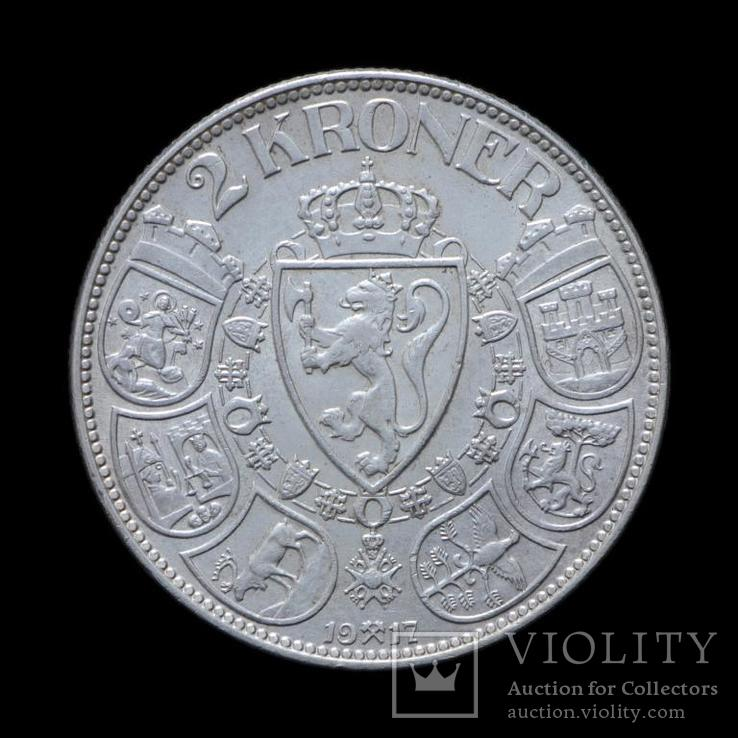 2 Кроны 1917 Хаакон VII,  Норвегия UNC, фото №2