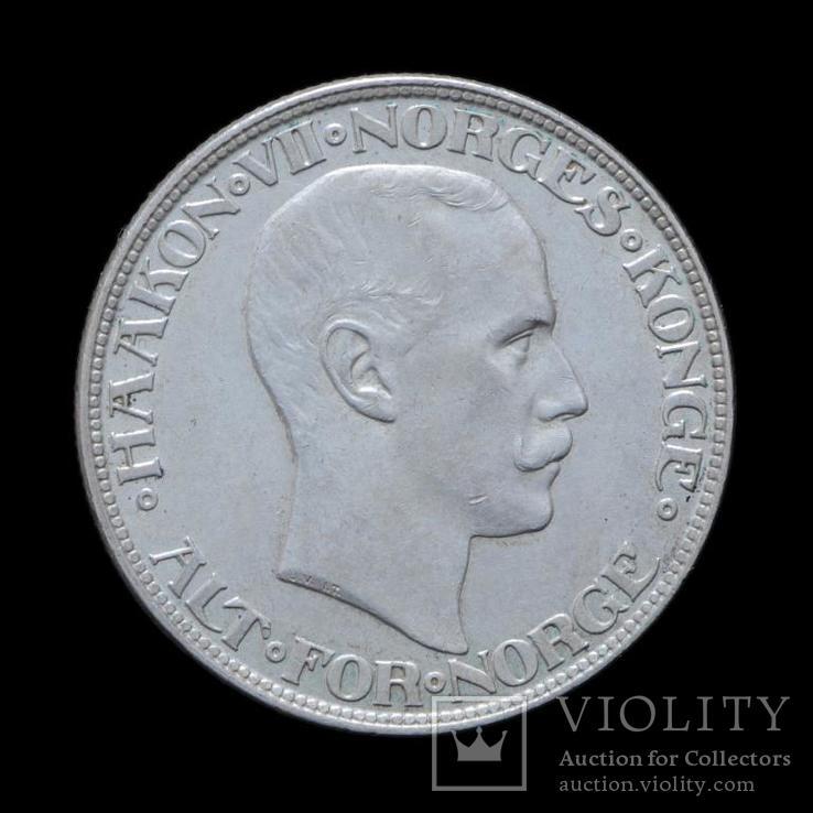 2 Кроны 1917 Хаакон VII,  Норвегия UNC, фото №3
