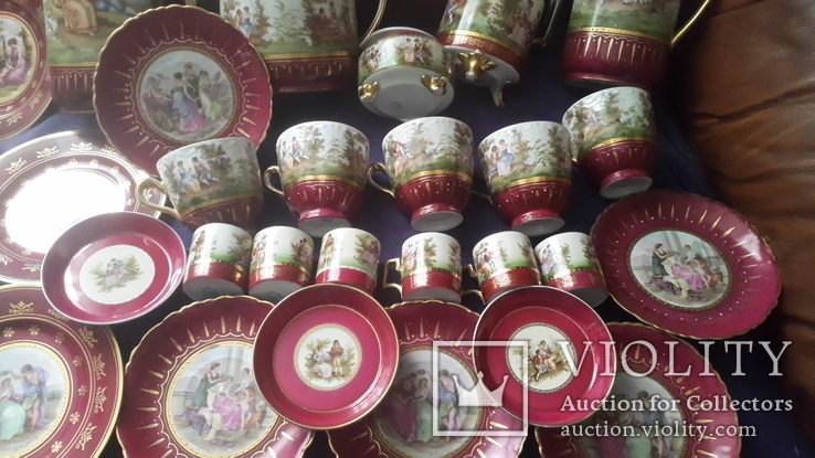 Старинный чайно-кофейный фарфоровый сервиз Старая Венна, фото №4