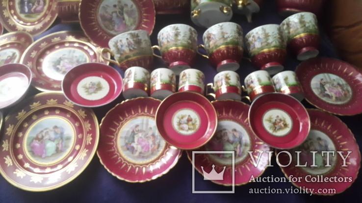 Старинный чайно-кофейный фарфоровый сервиз Старая Венна, фото №5