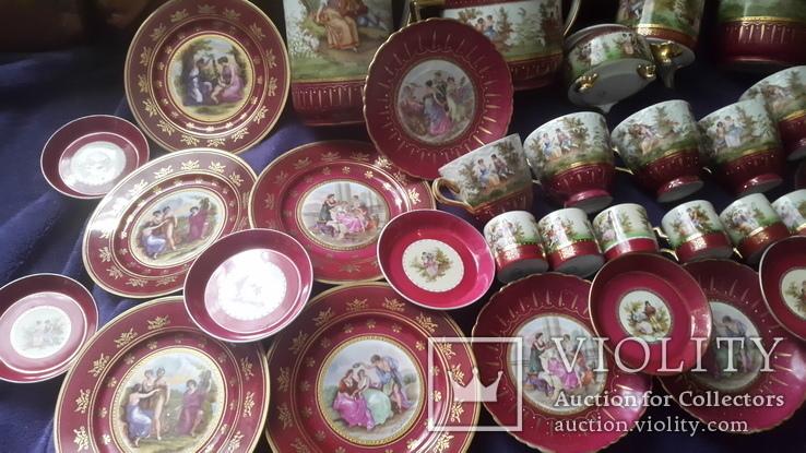 Старинный чайно-кофейный фарфоровый сервиз Старая Венна, фото №12