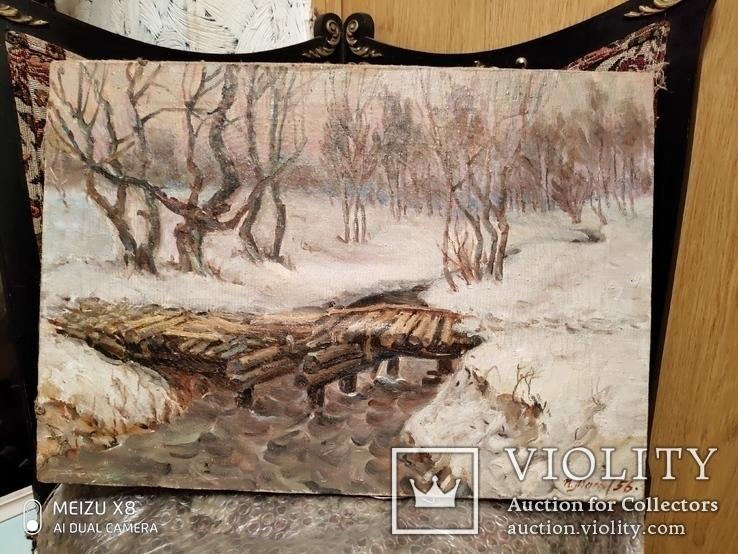 Старая картина пейзаж с подписью автора 56г