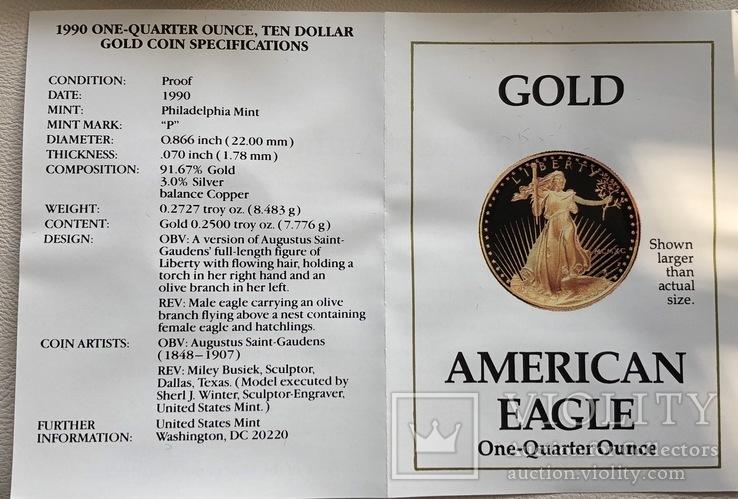 10 $ 1990 год США золото 8,48 грамм 916,7', фото №4