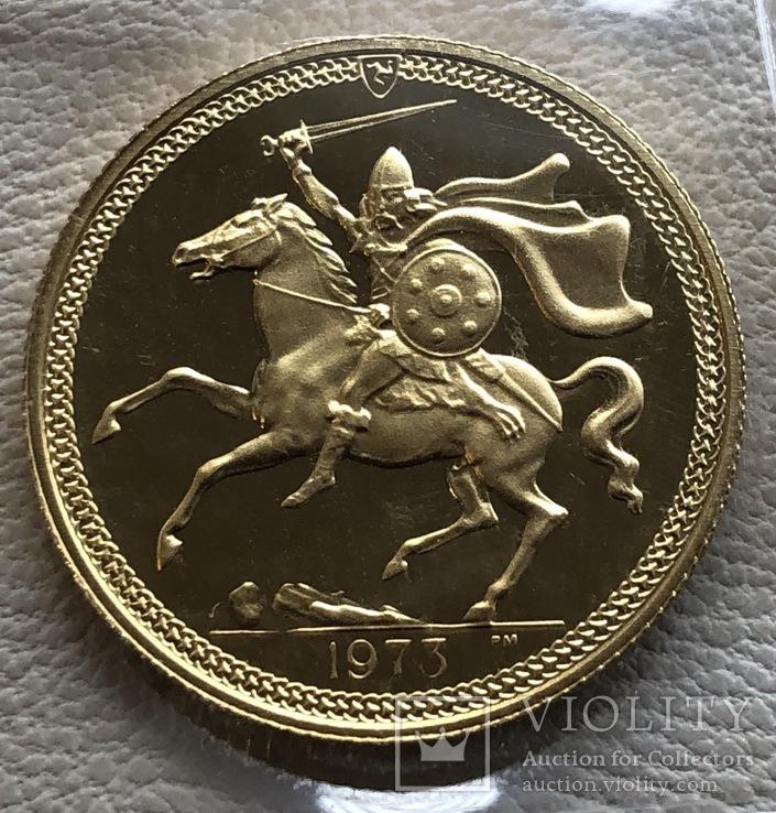 1 соверен 1973 год Остров Мэн золото 7,99 грамм 917'