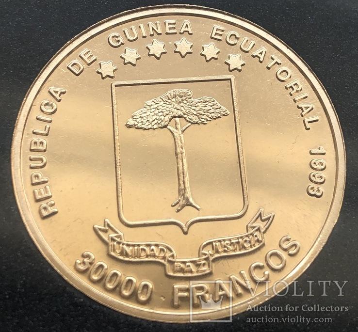 30000 франков 1993 год Экваториальная Гвинея золото 33,93 грамма 917', фото №6