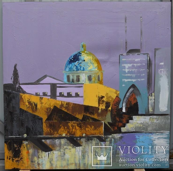 Картина, автор неизвестный, пейзаж, холст, масло, размер картины 80 х 80 см.