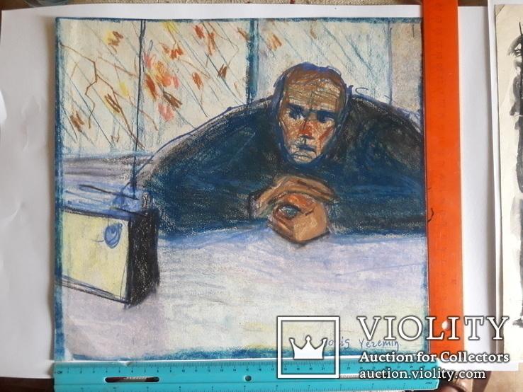 Два ранних рисунка ЗХУ Ерёмина Б.А. + блокнот с набросками, фото №2