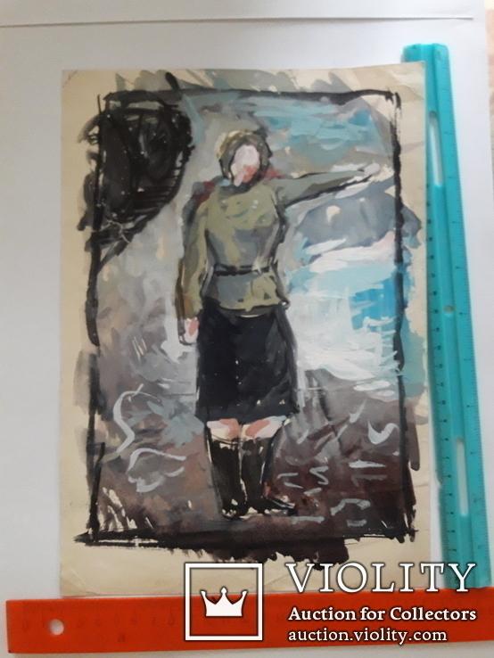 Два ранних рисунка ЗХУ Ерёмина Б.А. + блокнот с набросками, фото №3