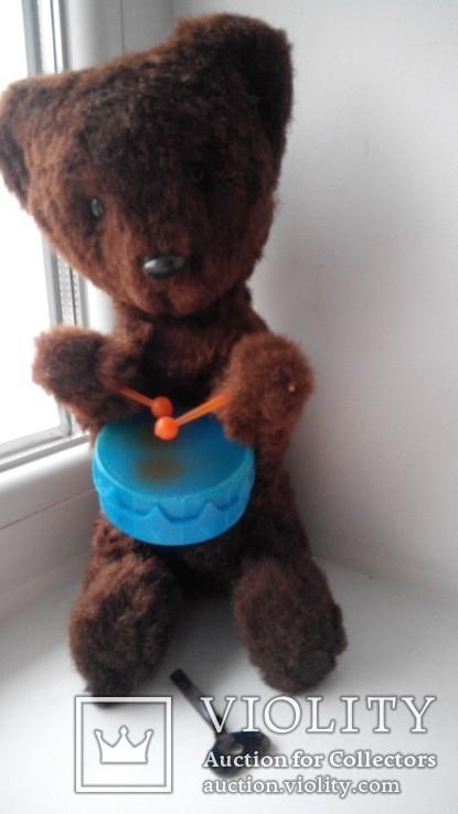 Заводной мишка барабанщик игрушка СССР, фото №3