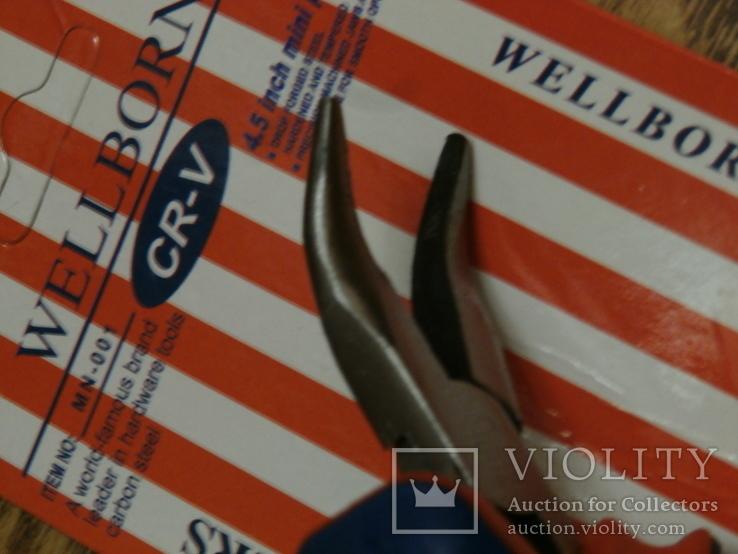 Мини плоскогубцы изогнутые WELLBORN c прорезиненной рукояткой 115мм, фото №4
