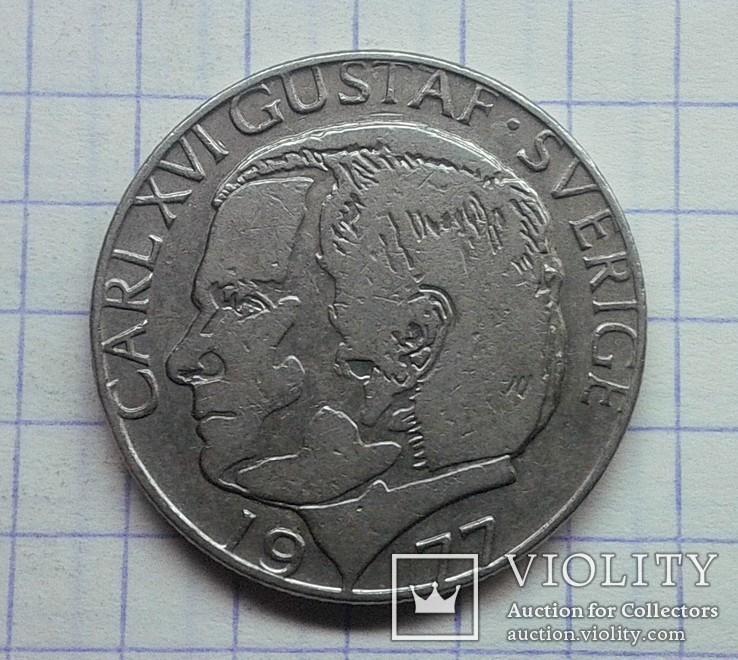 Швеция 1 крона 1977, фото №2