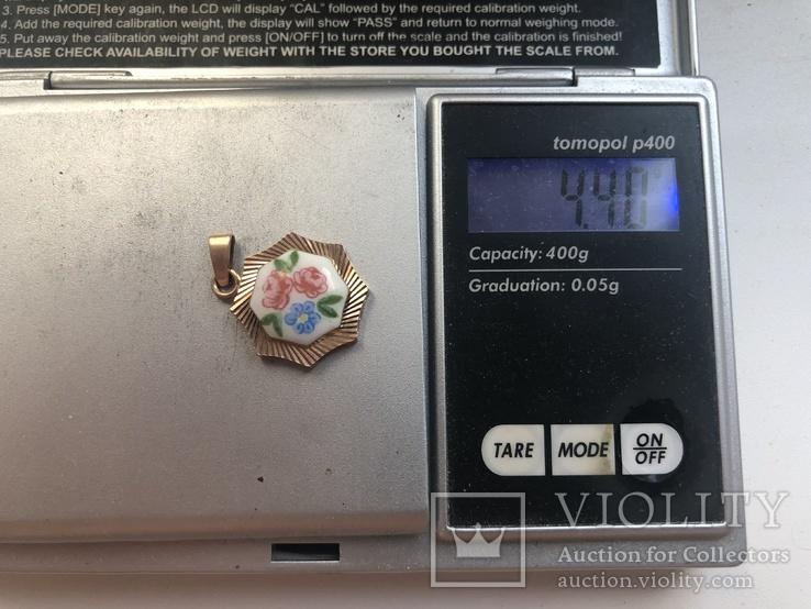 Кулон с эмалями, золото 583 проба., фото №5