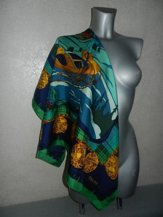 Celine,paris шелковый платок подписной,натуральный шелк, большой 88 см