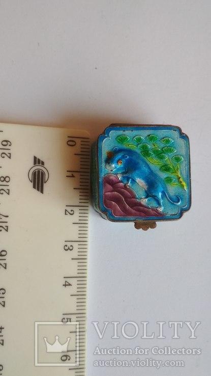 Старая шкатулка - таблетница, серебро, эмаль, Экспортный Китай, фото №3