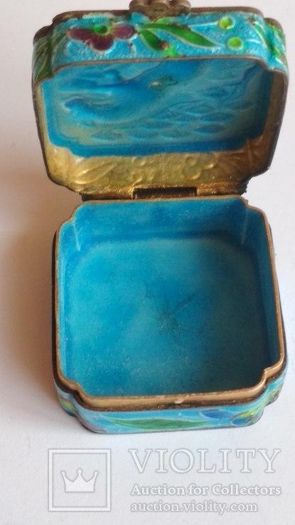 Старая шкатулка - таблетница, серебро, эмаль, Экспортный Китай, фото №5