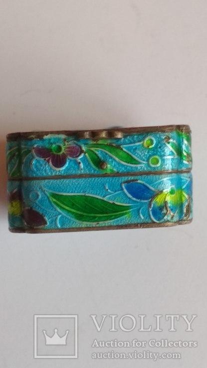 Старая шкатулка - таблетница, серебро, эмаль, Экспортный Китай, фото №7