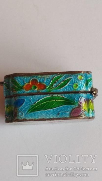 Старая шкатулка - таблетница, серебро, эмаль, Экспортный Китай, фото №8