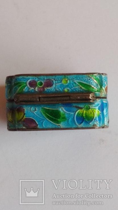 Старая шкатулка - таблетница, серебро, эмаль, Экспортный Китай, фото №9