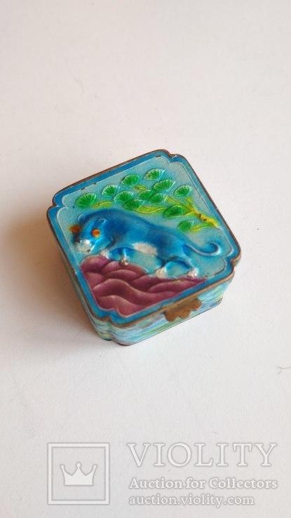 Старая шкатулка - таблетница, серебро, эмаль, Экспортный Китай, фото №12