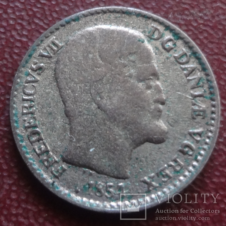 4  скиллинга 1854  Дания  серебро   (8.1.3)~, фото №2