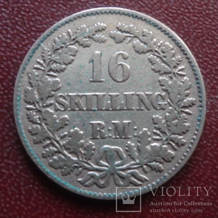 16  скиллингов 1856  Дания  серебро    (8.1.13)~, фото №2