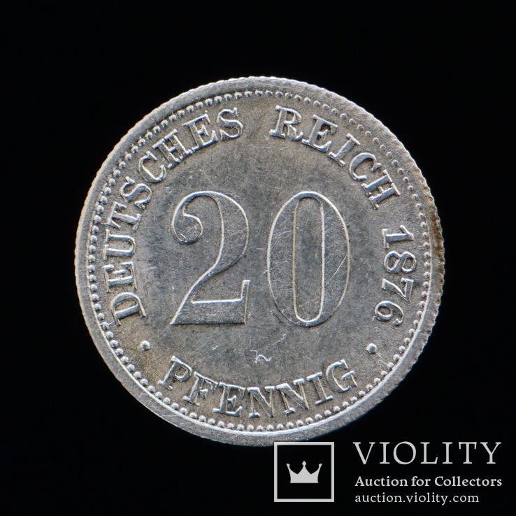 20 Пфеннгов 1876 F, Германия аUNC, фото №3