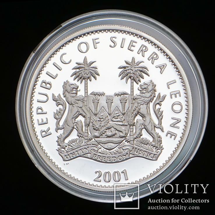 10 Долларов 2001 Лев / Большая Африканская Пятерка Сафари, Сьерра Леоне Позолота, фото №3