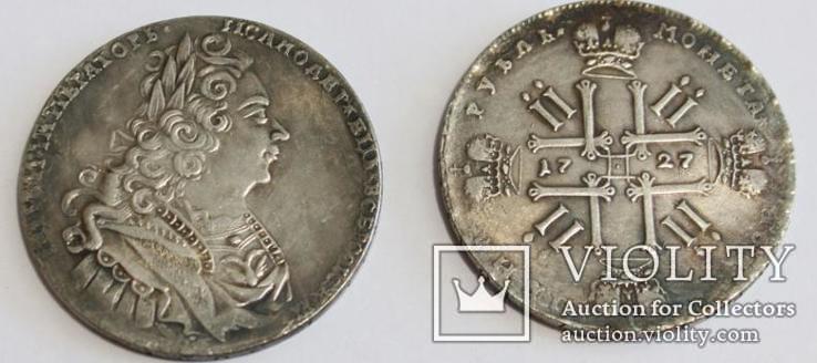 Рубль 1727 год петр 2 крестовик копия