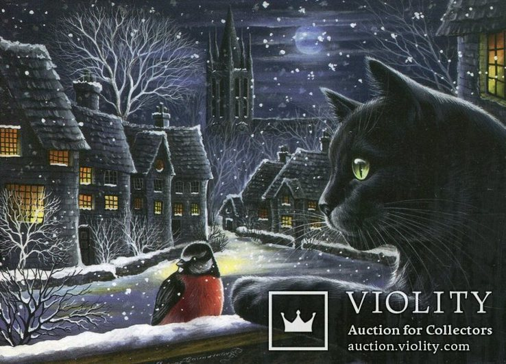 Открытки Новый год Рождество зима снег коты снегири книги ночь, фото №2