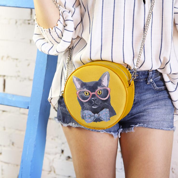 Сумка круглая Tablet Кот в очках